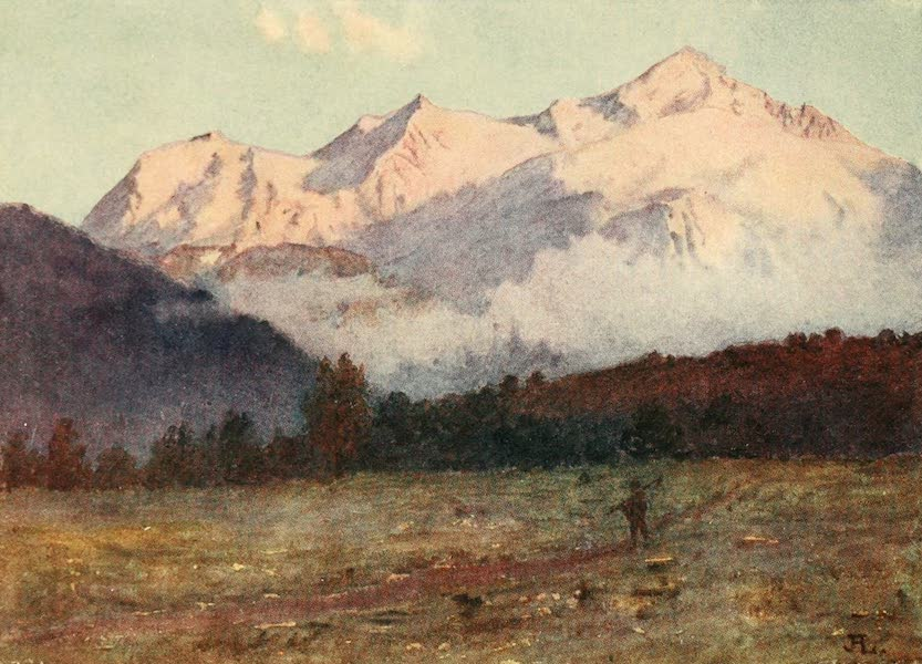 Geneva, Painted and Described - Sunset on Mont Blanc from above Geneva (1908)