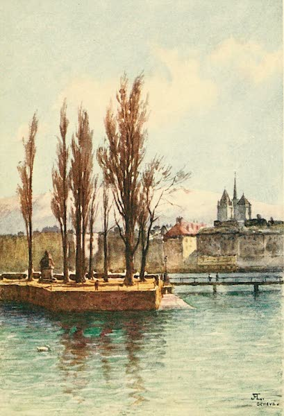 Geneva, Painted and Described - The Statue of Jean Jacques Rousseau on the Island in the Rhone, Geneva, from Hotel des Bergues (1908)