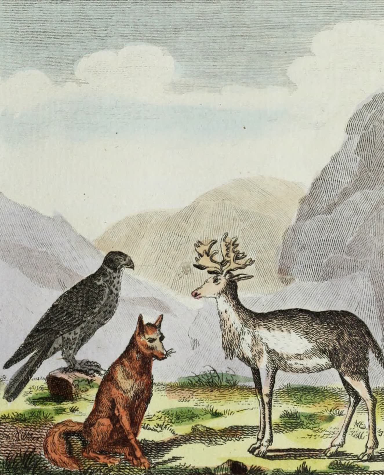Geographie Vivante, ou, Tableaux Raisonnes - Le Faucon, le Renard, le Renne (1821)