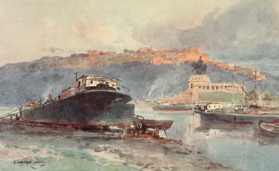 Germany, Painted and Described - Fortress of Ehrenbreitstein from Coblenz Dockyard (1912)
