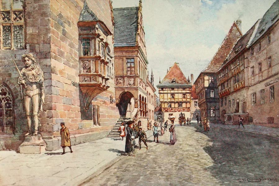 Germany, Painted and Described - Street and Town Hall in Halberstadt (1912)