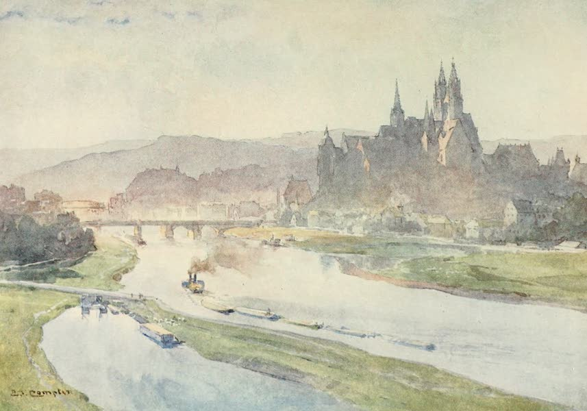 Germany, Painted and Described - Meissen from the Elbe (1912)
