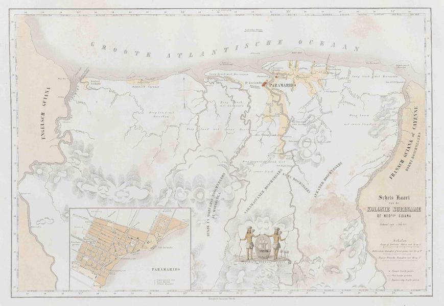 Gezigten uit Neerland's West-Indien - Schels Kaart van de Kolonie Suriname of Ned[erlan]sch Guiana (1860)