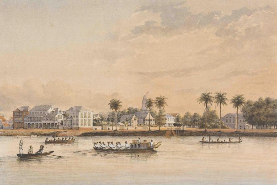 Gezigten uit Neerland's West-Indien - Suriname - Gouvernements-huis en Plein te Paramaribo (1860)