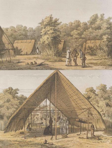 Gezigten uit Neerland's West-Indien - Een Arowakka Indianenkamp (1860)