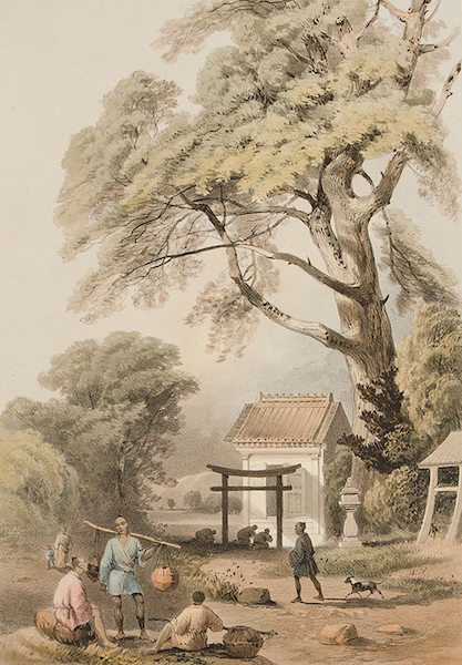 Graphic Scenes of the Japan Expedition - No. 6 - Mia or road side chapel at Yokuhama (1856)
