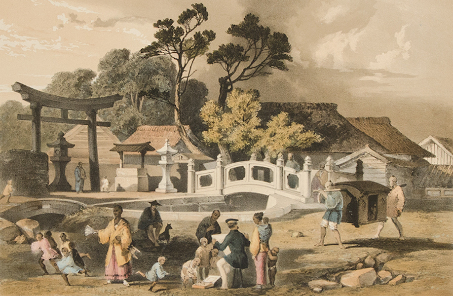 Graphic Scenes of the Japan Expedition - No. 8 - Street and bridge at Simoda (1856)