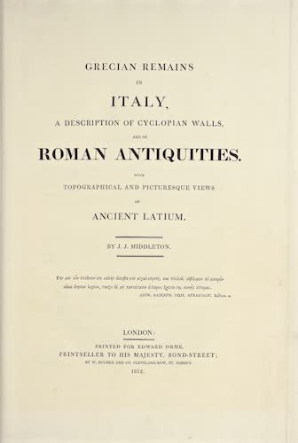 Aquatint & Lithography - Grecian Remains in Italy
