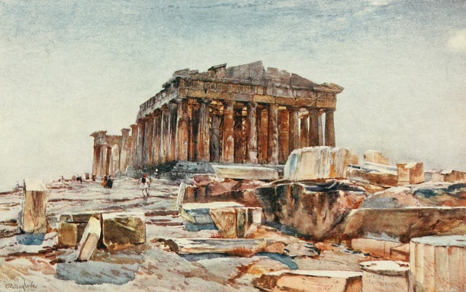 Greece Painted and Described - The Parthenon from the Propylsea (1906)