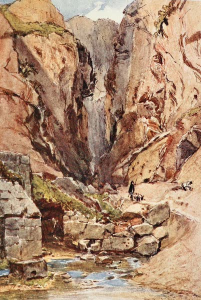 Greece Painted and Described - Delphi. The Castalian Gorge and Spring (1906)