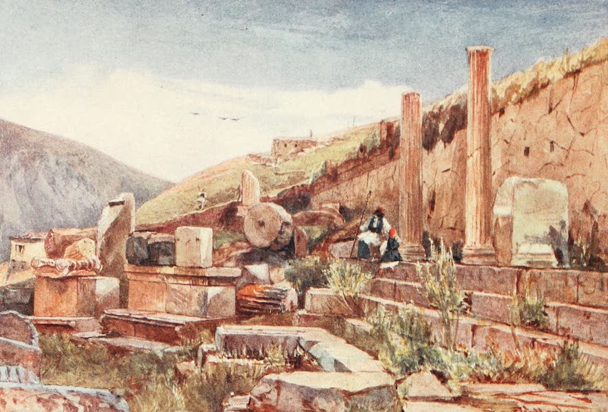 Greece Painted and Described - Delphi. The Portico of the Athenians (1906)