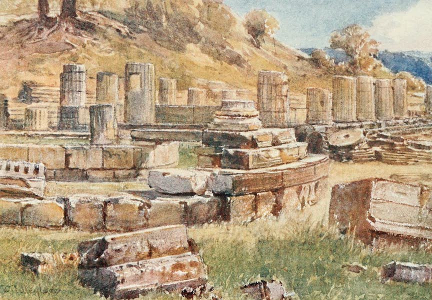 Greece Painted and Described - Olympia. The base of the Kronos Hill with the remain of the Temple of Hera and the Philippeion (1906)