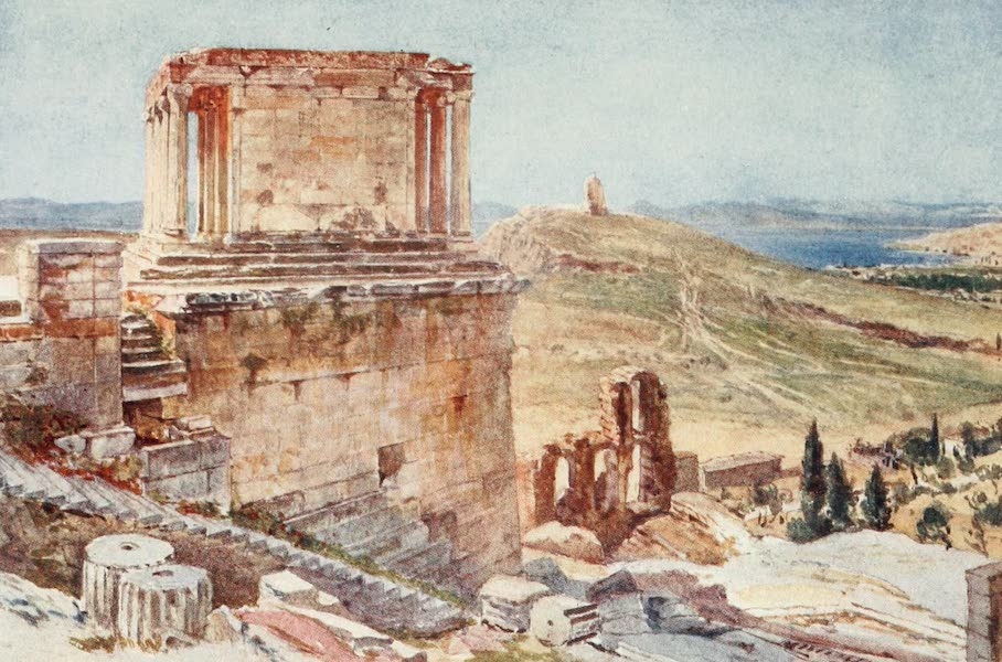 Greece Painted and Described - The Bastion and Temple of Wingless Victory viewed from the ascent to the Propylsa (1906)