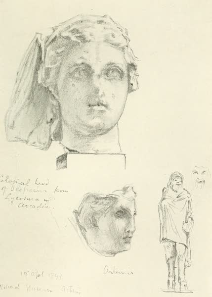 Greece Painted and Described - Colossal Head of Despoina (1906)