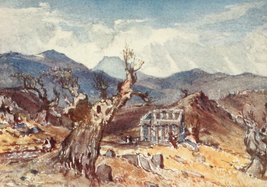 Greece Painted and Described - The Temple of Apollo at Bassa; in Arcadia, with distant view of Mount Ithome (1906)