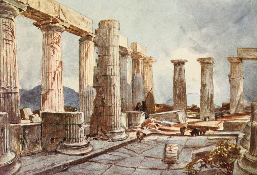 Greece Painted and Described - Interior of the Temple of Apollo at Bassse in Arcadia (1906)