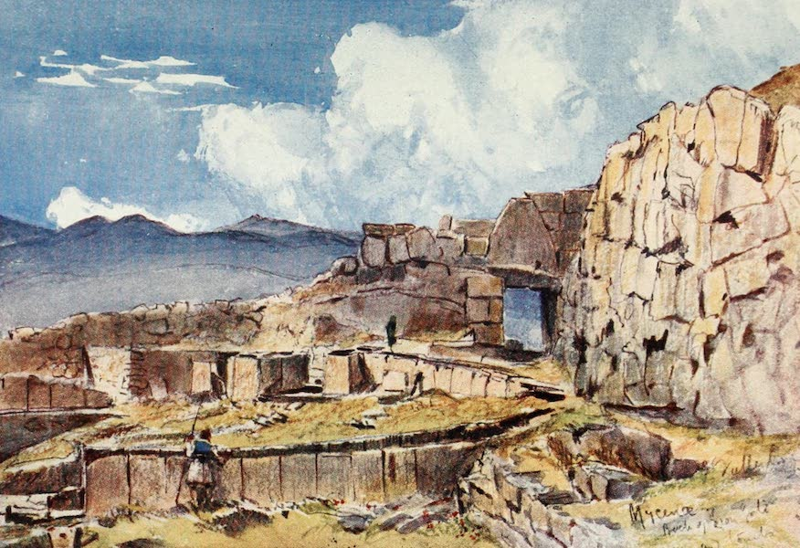 Greece Painted and Described - Mycenae, showing the site of the famous discoveries of Schliemann (1906)