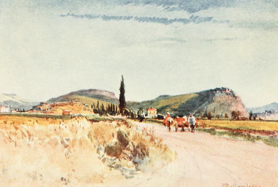 Greece Painted and Described - Nauplia and Tiryns from the Road to Argos (1906)