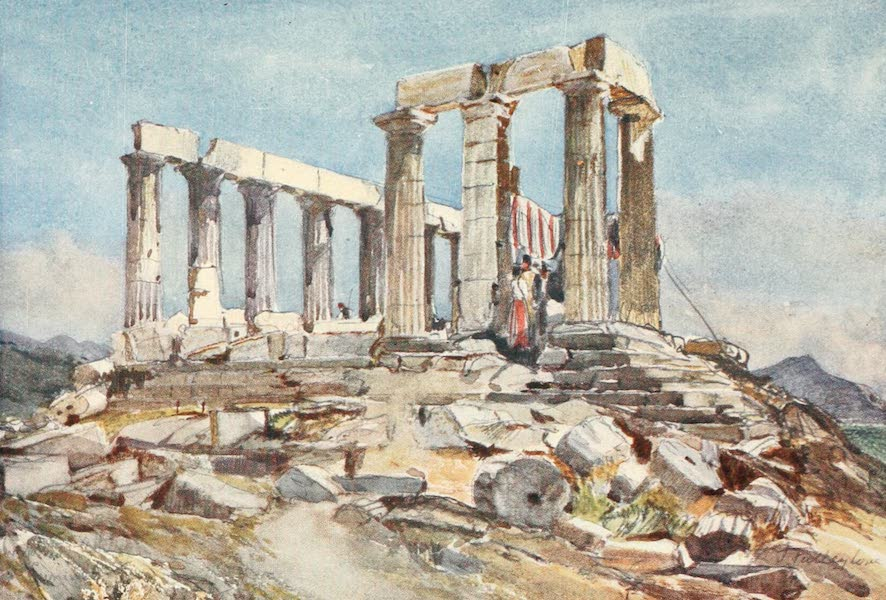 Greece Painted and Described - The Temple of Athena at Sunium from the North (1906)