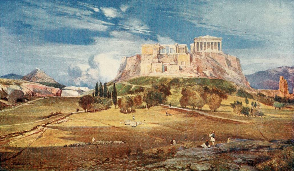 Greece Painted and Described - The Western End of the Acropolis seen from below the Pnyx (1906)