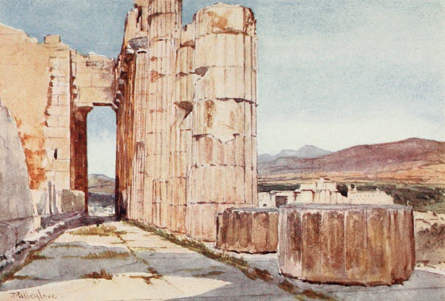 Greece Painted and Described - Vista of the Northern Peristyle of the Parthenon looking westward (1906)