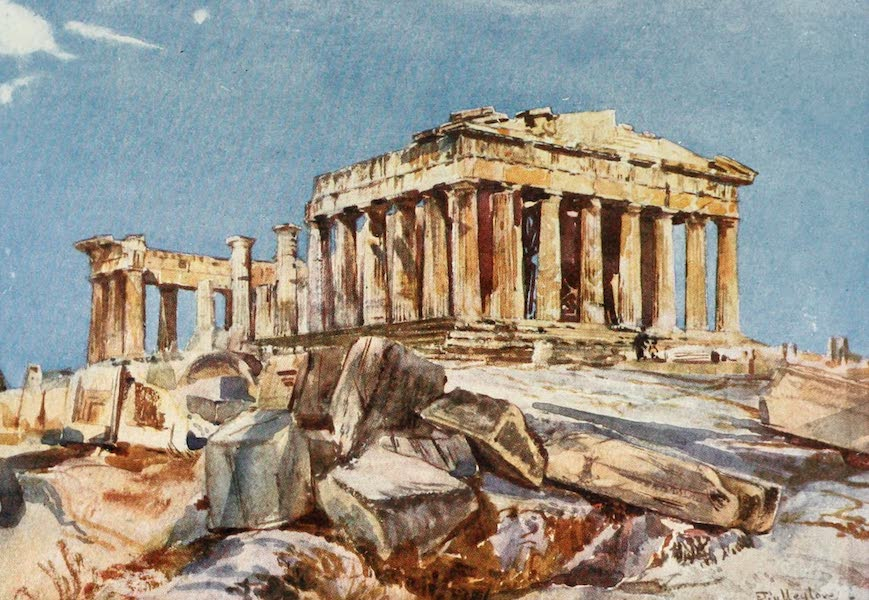 Greece Painted and Described - The Parthenon from the Northern End of the Eastern Portico of the Propylasa (1906)