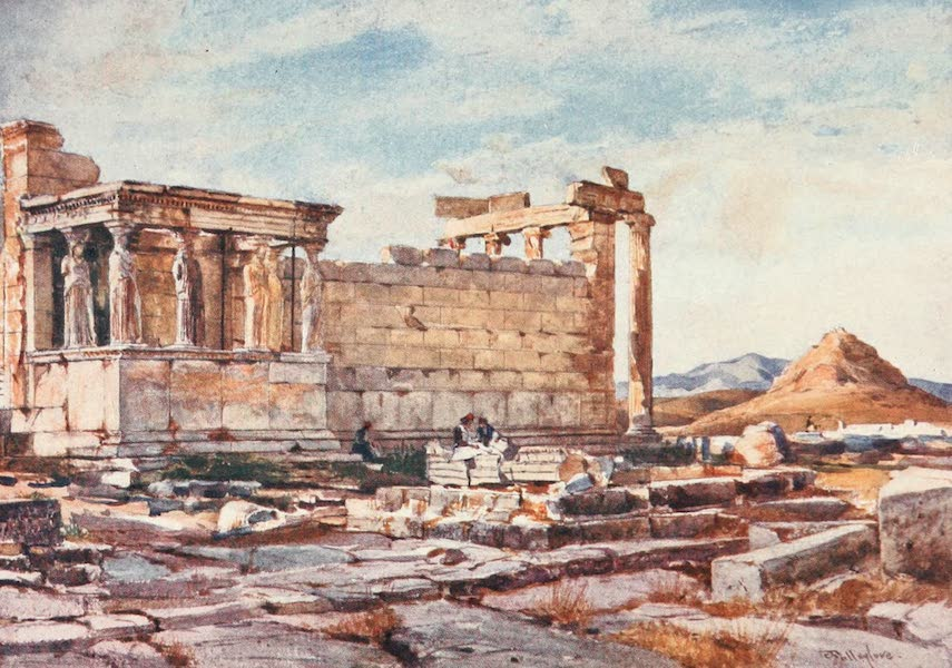 Greece Painted and Described - The Southern side of the Ercchtheum, with the foundations of the earlier Temple of Athena Polias (1906)