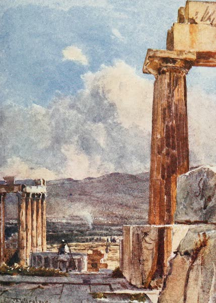 Greece Painted and Described - The Eastern Portico of the Erechtheum viewed from the Northern Peristyle of the Parthenon (1906)