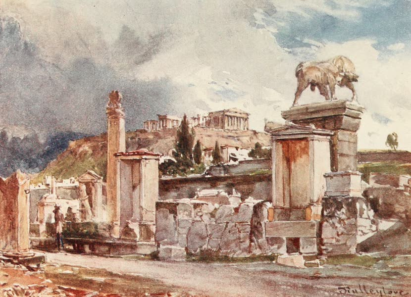 Greece Painted and Described - The Street of Tombs outside the Dipylon at Athens (1906)