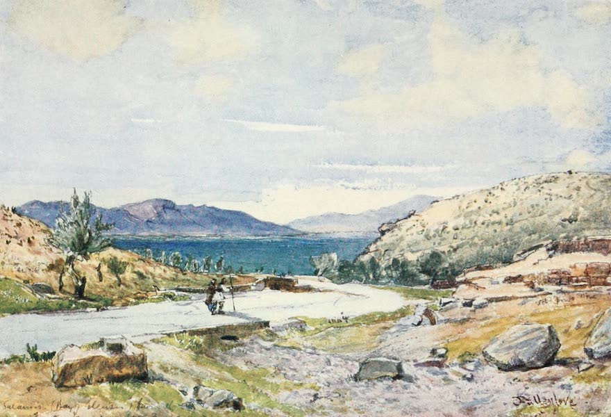 Greece Painted and Described - Sacred Way from Athens to Eleusis, looking towards Salamis (1906)