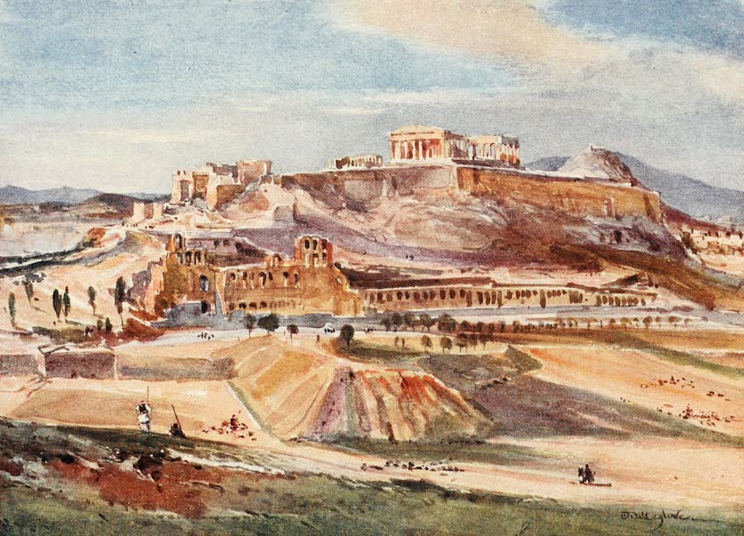 Greece Painted and Described - The Acropolis from the base of the Philopappus Hill (1906)