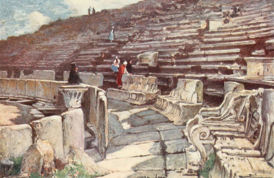 Greece Painted and Described - The lower part of the Auditorium of the Theatre of Dionysos at Athens (1906)