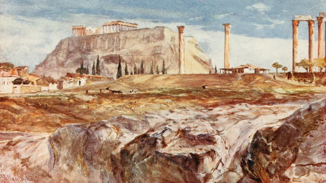 Greece Painted and Described - The Acropolis with Kallirrhoe in the Foreground (1906)