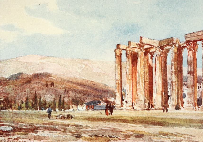 Greece Painted and Described - Columns of the Temple of Olympian Zeus from the North-West (1906)