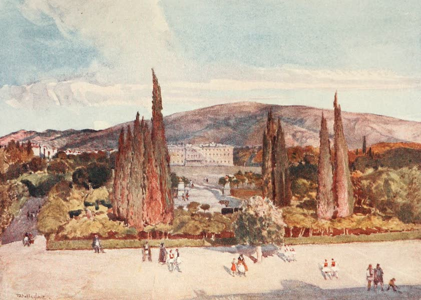Greece Painted and Described - The Square in front of the King's Palace at Athens (1906)