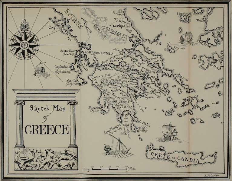 Greece Painted and Described - Sketch Map of Greece (1906)