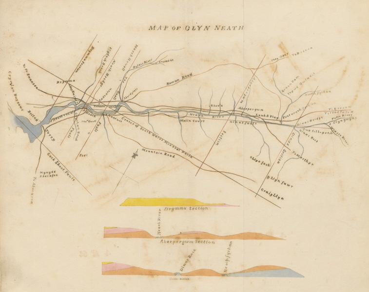 Guide to the Beauties of Glyn Neath - Map of Glyn Neath (1835)