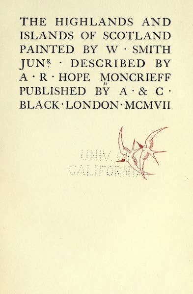 Highlands and Islands of Scotland Painted and Described - Title Page (1907)