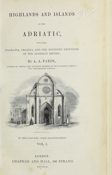 Highlands and Islands of the Adriatic - Title Page (1849)