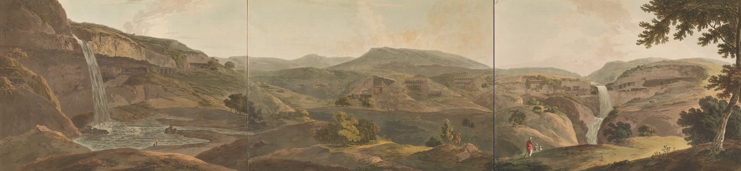 Hindoo Excavations in the Mountain of Ellora - The Mountain Of Ellora [Composite View] (1803)