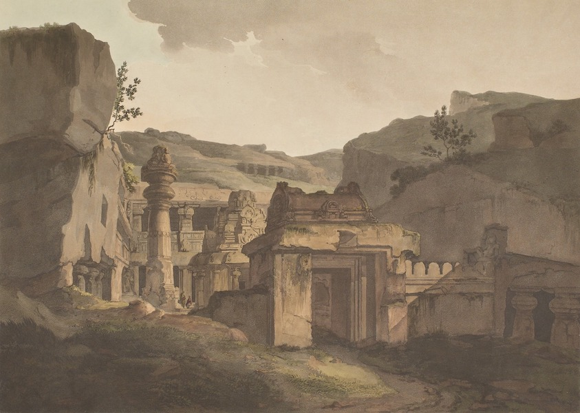 Hindoo Excavations in the Mountain of Ellora - The Entrance Of Indra Sabhâ (1803)