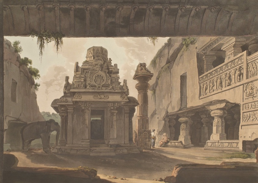 Hindoo Excavations in the Mountain of Ellora - View Of Indra Sabhâ, Looking Outward (1803)