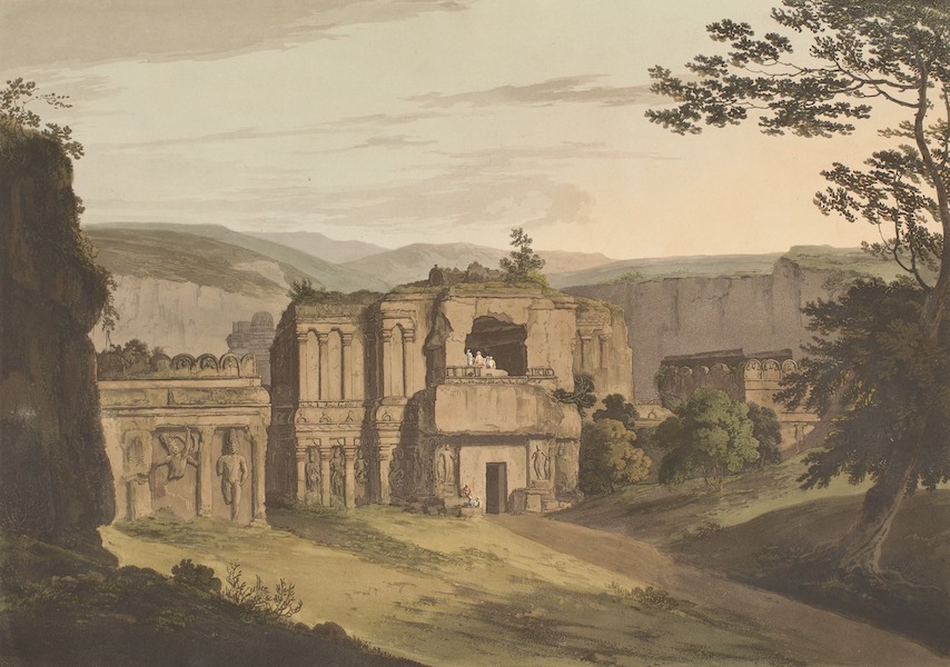 Hindoo Excavations in the Mountain of Ellora - The Entrance To Kailâsa (1803)