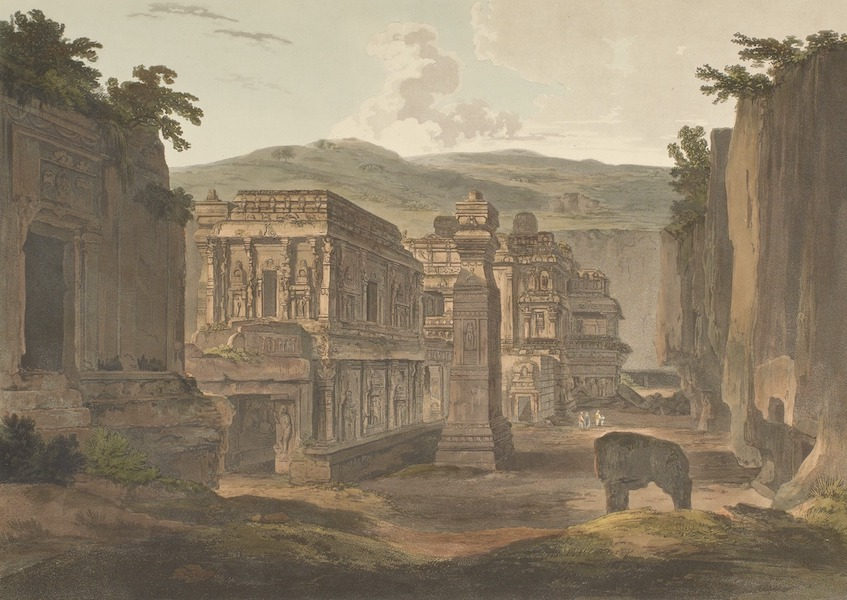 Hindoo Excavations in the Mountain of Ellora - S.W. View Of Kailâsa (1803)
