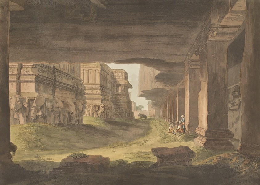 Hindoo Excavations in the Mountain of Ellora - N.E. View Of Kailâsa (1803)