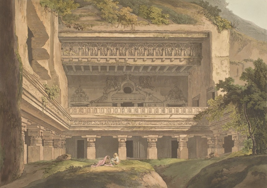 Hindoo Excavations in the Mountain of Ellora - Viswakarmâ, Exterior View (1803)