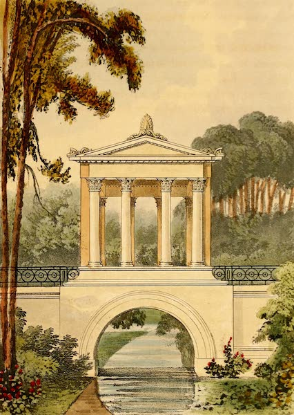 Hints on Ornamental Gardening - A Bridge and Temple (1823)
