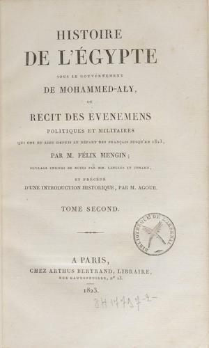 French - Histoire de l'Egypte sous le Gouvernement de Mohammed-Aly Vol. 2