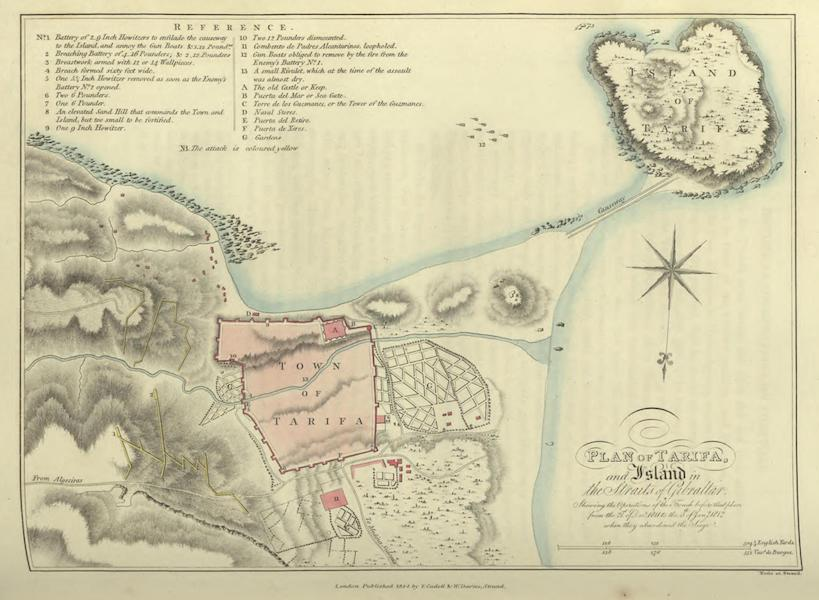 Historical, Military, and Picturesque Observations on Portugal Vol. 1 - Plan of Tarifa and Island in the Straits of Gibraltar (1818)