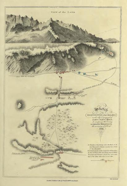 Historical, Military, and Picturesque Observations on Portugal Vol. 1 - Sketch of the Disposition of the Allies under the Command of Lieut. Gen. Hill (1818)